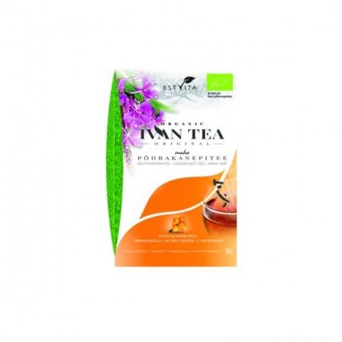 Siauralapio gauromečio (Ivan-čai) arbata su šaltalankiais, ekologiška, biri, Estvita, 50 g