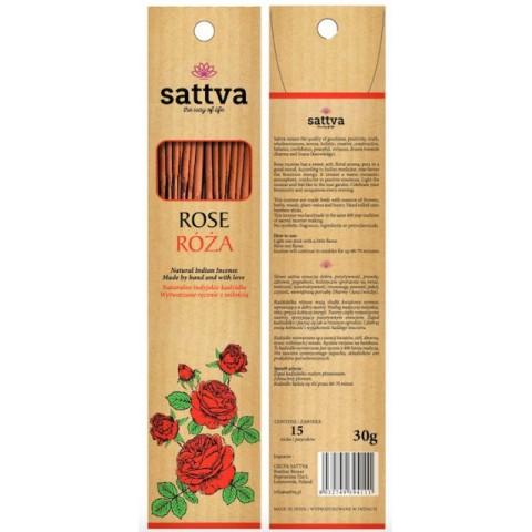 Rožių kvapo smilkalų lazdelės ROSE, Sattva Ayurveda, 15 vnt.