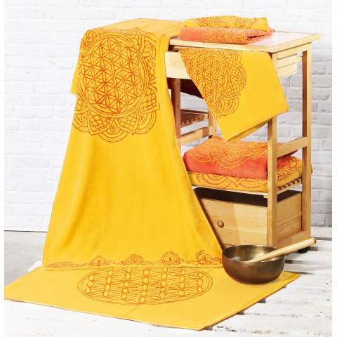Ekologiškos medvilnės rankšluostis, saulės/koralo spalvos, 48x109cm