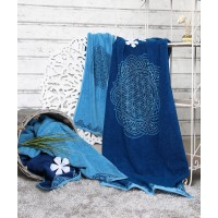 Ekologiškos medvilnės rankšluostis, mėlyno ažūro spalvos, Spirit of OM, 48x109cm