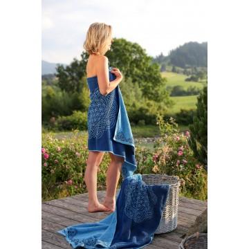 Ekologiškos medvilnės rankšluostis, mėlyno ažūro spalvos, Spirit of OM, 69x155cm