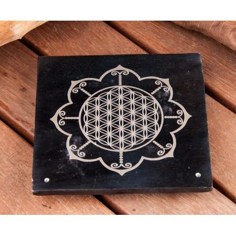"""Akmeninis smilkalų laikiklis """"Gyvenimo gėlė - lotosas"""", juodas 10x10cm"""