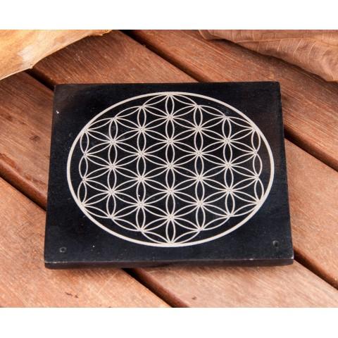 """Akmeninis smilkalų laikiklis """"Gyvenimo gėlė"""", juodas 10x10cm"""