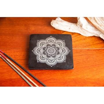 """Akmeninis smilkalų laikiklis """"Mandala"""", juodas 10x10cm"""