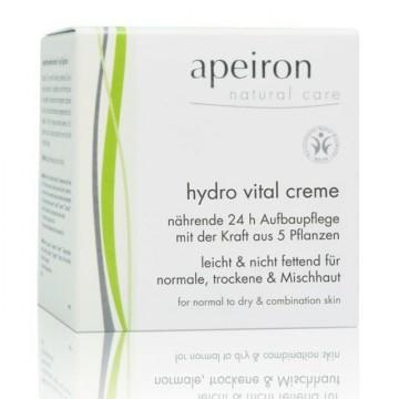 Drėkinantis, maitinantis, atstatantis veido kremas visiems odos tipams su 5 augalų galia Apeiron, 50 ml