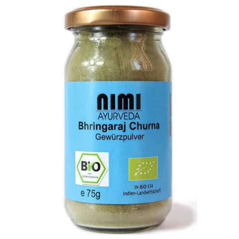 Gulsčiosios grąžulės (Bhringaraj) žolelių milteliai, ekologiški, 75g