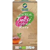 Lapų arbata Tulsi Indian Rose, ekologiška, OW'REAL, 25 pakeliai