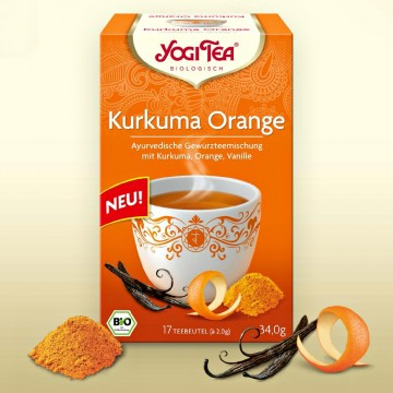 """Prieskoninė arbata su ciberžole """"Curcuma Orange"""", Yogi Tea, 17 pakelių"""