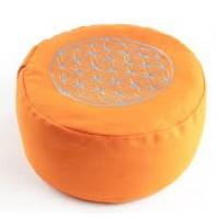 """Meditacinė pagalvėlė """"Flower of Life"""", apvali, oranžinė"""