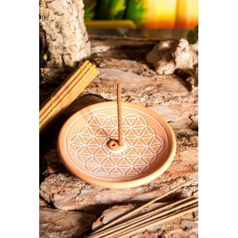 """Smilkalų lazdelių laikiklis """"Gyvenimo gėlė"""", molinis, rudos spalvos, 15cm"""