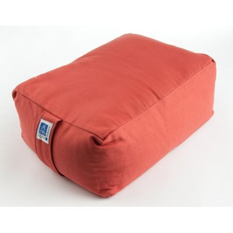 Stačiakampinė meditacinė pagalvė, šviesiai rausva, su grikiais