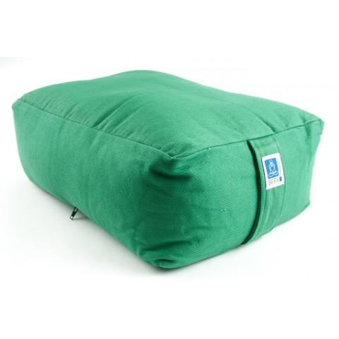 Stačiakampinė meditacinė pagalvė, žalia su grikiais