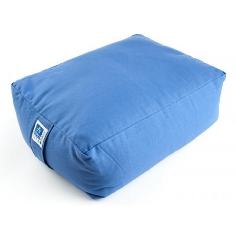 Stačiakampinė meditacinė pagalvė, mėyna, su grikiais
