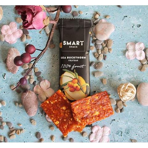 """Vaisių batonėlis su šaltalankiais """"Smart fruit snack"""", veganiškas, 30 g"""