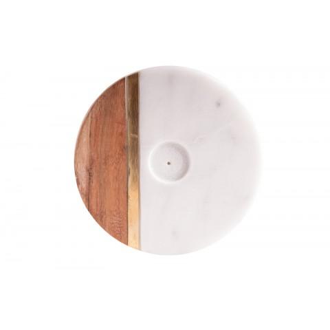 Marmurinis smilkalų laikiklis su mediniu simboliu, ø 10 cm