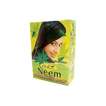 """Nimbamedžio miltelių kaukė """"Neem 2in1"""" plaukams ir veidui (riebiai odai), 100g , Hesh"""