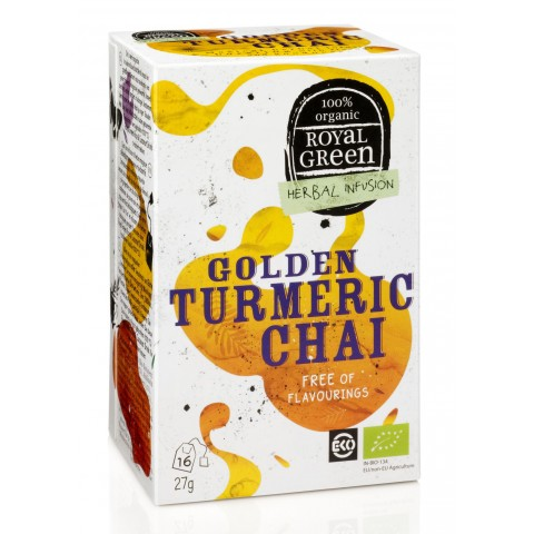 Ekologiška arbata su ciberžole Golden Turmeric Chai, ROYAL GREEN, 16 pakelių