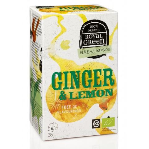 Ekologiška arbata su imbieru ir citrina Ginger& Lemon, ROYAL GREEN, 16 pakelių