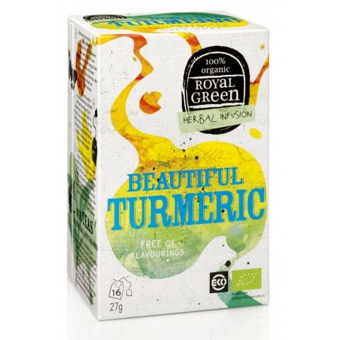 Ekologiška arbata su ciberžole ir pipirais Beautiful Turmeric, ROYAL GREEN, 16 pakelių