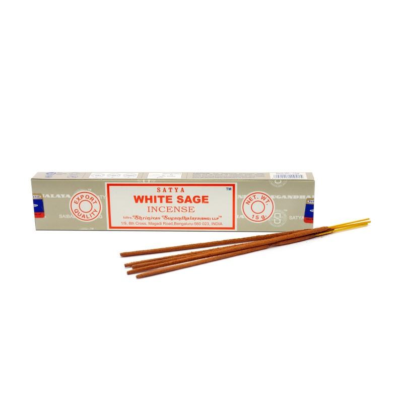 Šalavijų kvapo smilkalų lazdelės White Sage, Satya, 15g