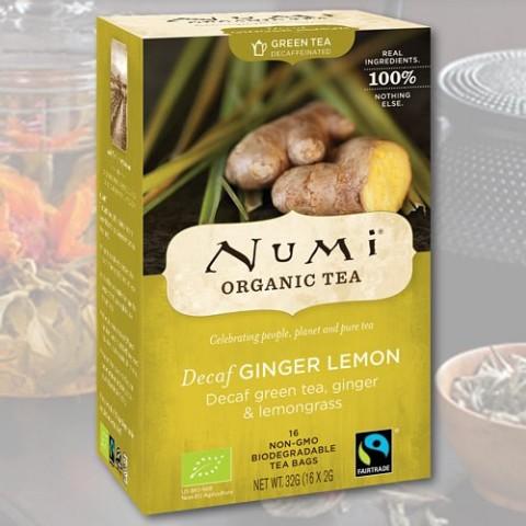 """Žalioji arbata be kofeino """"Imbieras-Citrina"""" Numi Tea, ekologiška, 18 pakelių"""