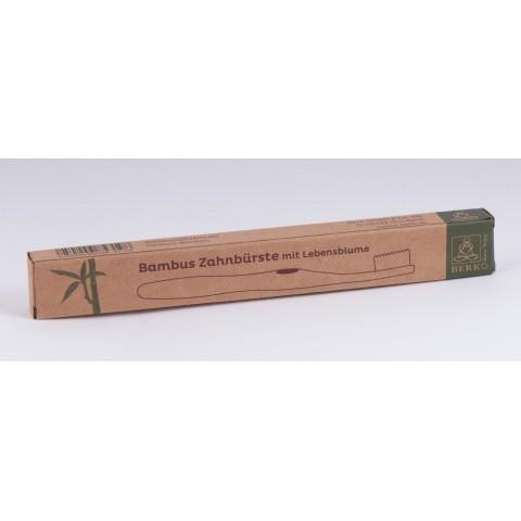 """Bambukinis dantų šepetėlis """"Gyvenimo gėlė"""" su aktyvuota anglimi, vidutinio kietumo"""