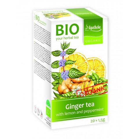 Imbierinė arbata su mėtomis ir citrinų žievele, ekologiška, Apotheke, 20 pakelių