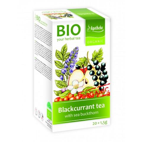 """Vaisinė arbata """"Aktyvi diena"""" su juodaisiais serbentais ir šaltalankiu, ekologiška, Apotheke, 20 pakelių"""