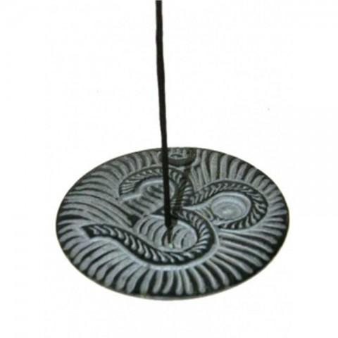 Smilkalų lazdelių ir kūgių laikiklis iš juodojo muilo akmens OM, 10cm