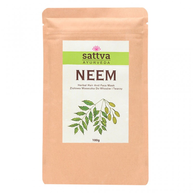 Nimbamedžio milteliai Neem (Nimba) veido ir plaukų kaukėms,  Sattva Ayurveda, 100g