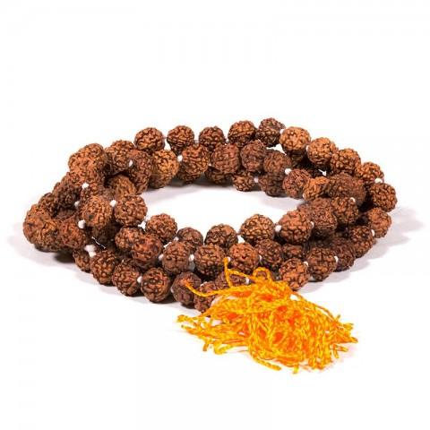 Rudrakšos maldos karoliukai su oranžiniu kutu, 108 karoliukai