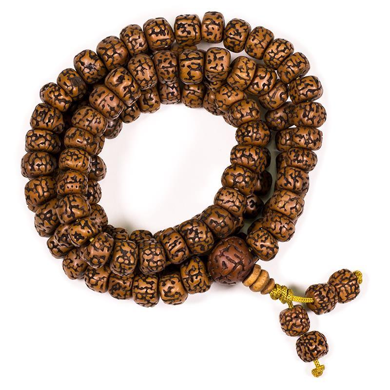 Poliruoti rudrakšos maldos karoliai, 108 karoliukai, 1cm