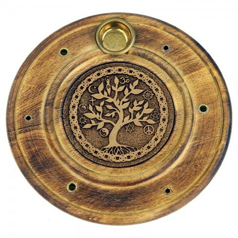 """Smilkalų lazdelių/kūgių laikiklis """"Gyvenimo medis"""""""", medinis, 10cm"""