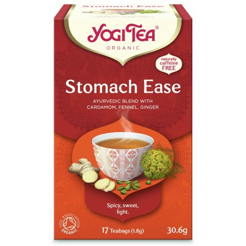 """Prieskoninė ajurvedinė arbata Stomach Ease (""""Lengvumas skrandyje""""), ekologiška, Yogi Tea, 17 pakelių"""