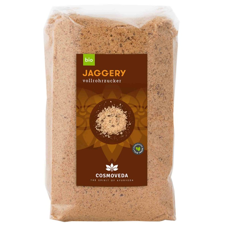 Ekologiškas nerafinuotas cukranendrių cukrus Jaggery, Cosmoveda, 400 g