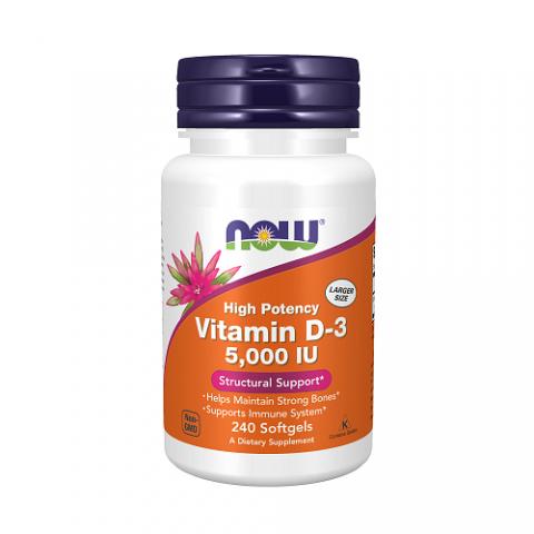 Vitaminas D-3 5000 IU, NOW, 240 kapsulių