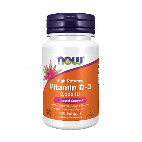 Maisto papildas vitaminas D-3 2000 IU, NOW, 120 kapsulių