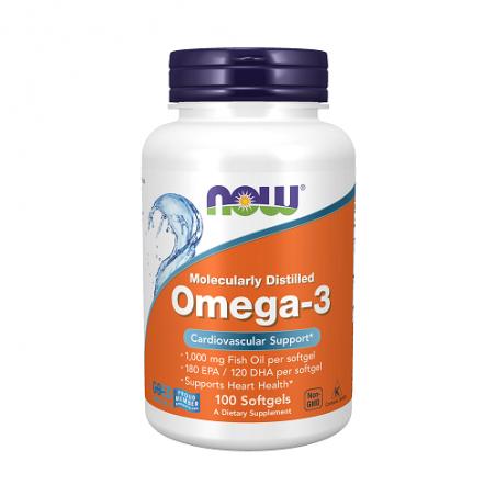 Maisto papildas Omega 3 žuvų taukai 1000 mg, NOW, 100 kapsulių