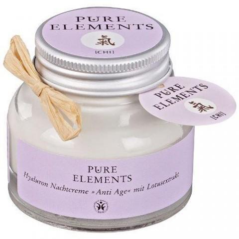 Naktinis veido kremas su hialuronu ir lotoso ekstraktu Chi Anti Age, Pure Elements, 50ml