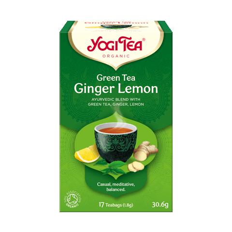 Žalioji prieskoninė arbata Ginger Lemon, Yogi Tea, 17 pakelių
