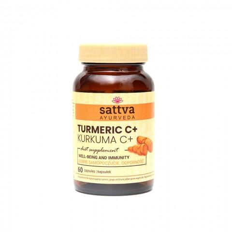 Maisto papildas Turmeric C+, Sattva Ayurveda, 60 kapsulių