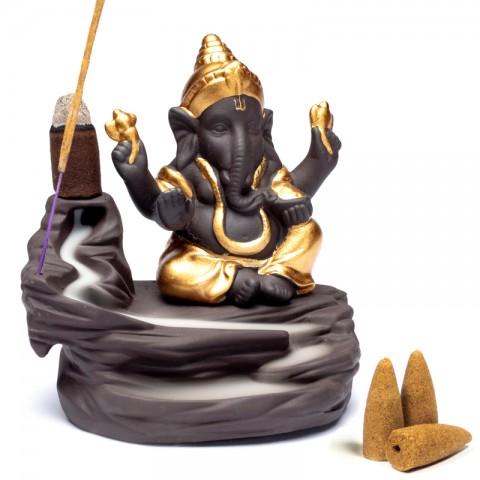 "Atbulinio smilkimo ""krioklio efekto"" (backflow) laikiklis Ganesha"