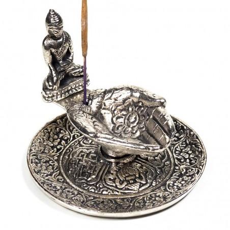 Smilkalų laikiklis Siūlančios Rankos su Budha, aliuminis, 9cm