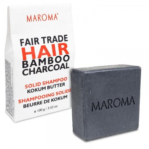 Kietas šampūnas su bambuko anglimi Charcoal, Maroma, 100g