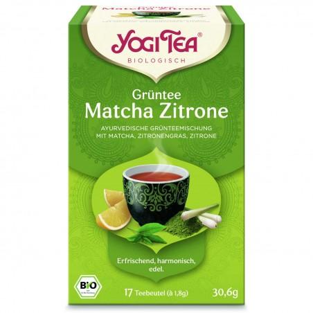 Žalioji prieskoninė arbata su citrina Matcha Lemon, Yogi Tea, ekologiška, 17 pakelių