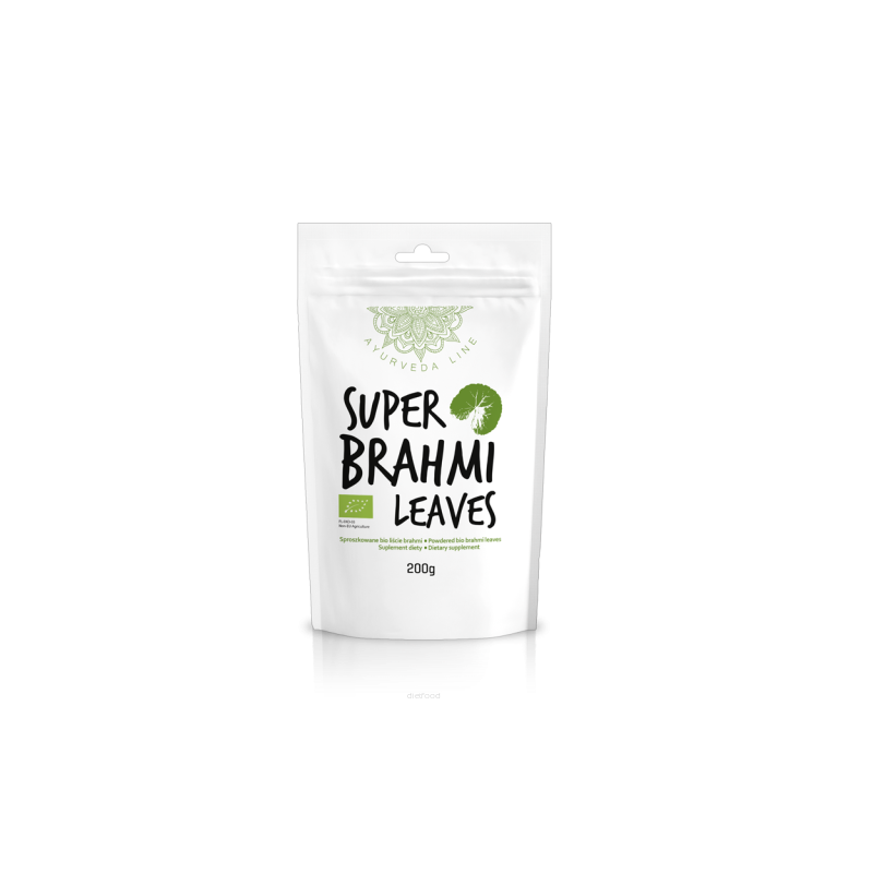 Mėlynžiedės taškuonės Brahmi lapų milteliai Super Brahmi Leaves, ekologiški, Ayurveda Line, 200g