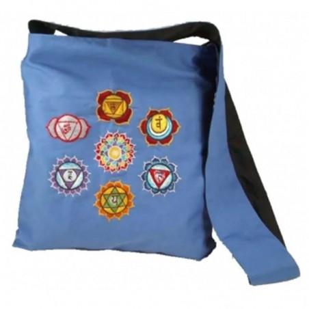 Mėlynas krepšys su čakrų simboliais