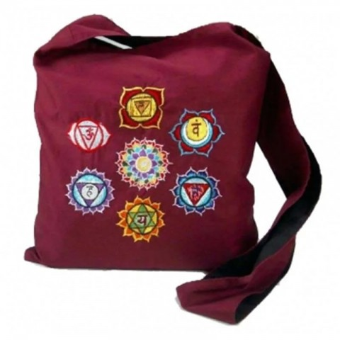 Raudonas bordo krepšys su čakrų simboliais