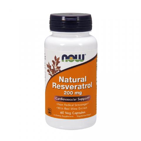 Maisto papildas Natural Resveratrol 200mg, NOW, 60 kapsulių