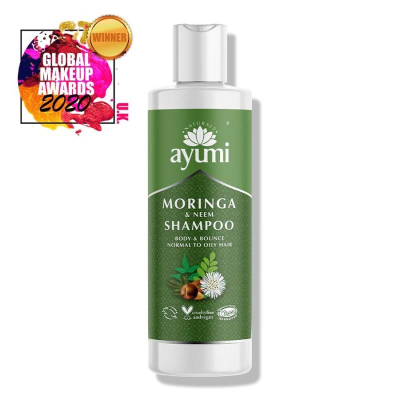 Šampūnas plaukų apimčiai Moringa & Neem, Ayumi, 250 ml